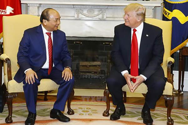 Thủ tướng Nguyễn Xuân Phúc hội đàm với Tổng thống Hợp chúng quốc Hoa Kỳ Donald Trump - Ảnh: TTXVN