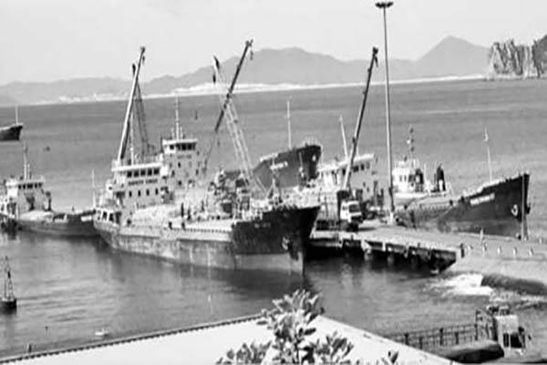 Tàu bốc xếp hàng hóa ở cảng Vũng Rô. Ảnh: CTV