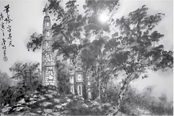 Tháp Bút bên hồ Gươm (Tranh thủy mặc: Trương Hán Minh). Ảnh: Tư liệu