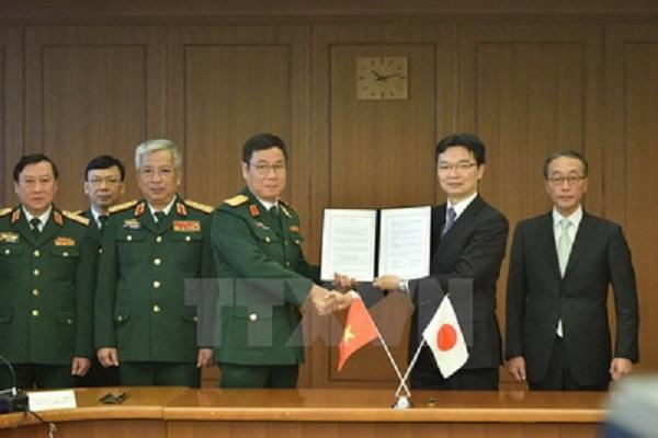 Quang cảnh lễ ký Bản tham chiếu về hợp tác công nghiệp quốc phòng song phương trong khuôn khổ đối thoại - Ảnh: TTXVN