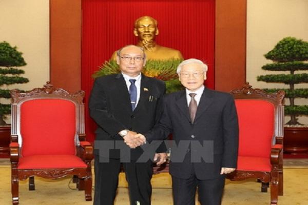Tổng Bí thư Nguyễn Phú Trọng tiếp Chủ tịch Quốc hội nước Cộng hòa Liên bang Myanmar Mahn Win Khaing Than thăm chính thức Việt Nam - Ảnh: TTXVN