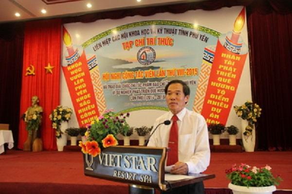 Th.S Nguyễn Hoài Sơn - Chủ tịch Liên hiệp Hội, Tổng Biên tập Tạp chí Trí thức, báo cáo tổng kết cuộc thi