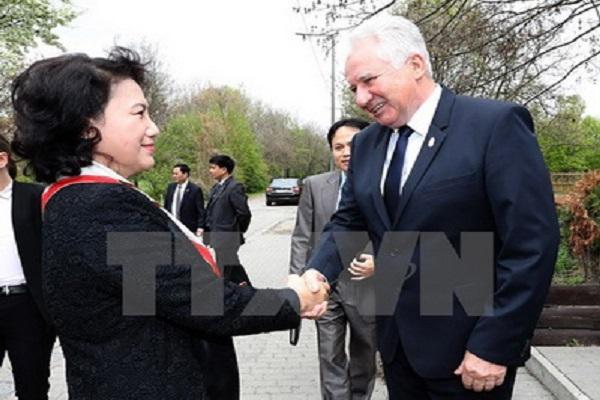 Chủ tịch Quốc hội Nguyễn Thị Kim Ngân gặp Phó Chủ tịch Quốc hội Hungary Jakab Istvan - Ảnh: TTXVN
