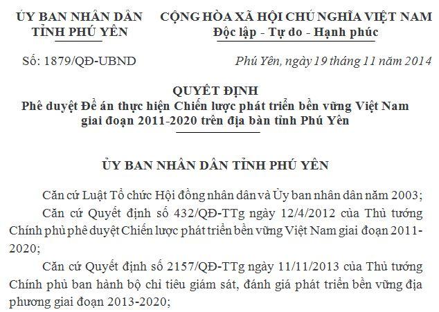 Quyết định phê duyệt Đề án thực hiện Chiến lược phát triển bền vững Việt Nam giai đoạn 2011-2020 trên địa bàn tỉnh Phú Yên