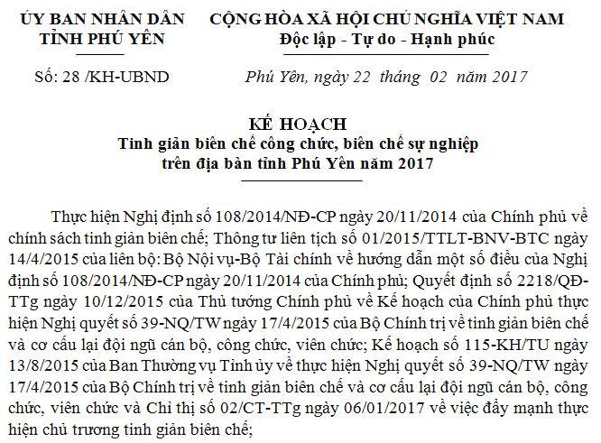 Kế hoạch Tinh giản biên chế công chức, biên chế sự nghiệp trên địa bàn tỉnh Phú Yên năm 2017
