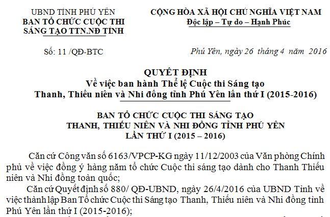 Quyết định Về việc ban hành Thể lệ Cuộc thi Sáng tạo Thanh, Thiếu niên và Nhi đồng tỉnh Phú Yên lần thứ I (2015-2016)