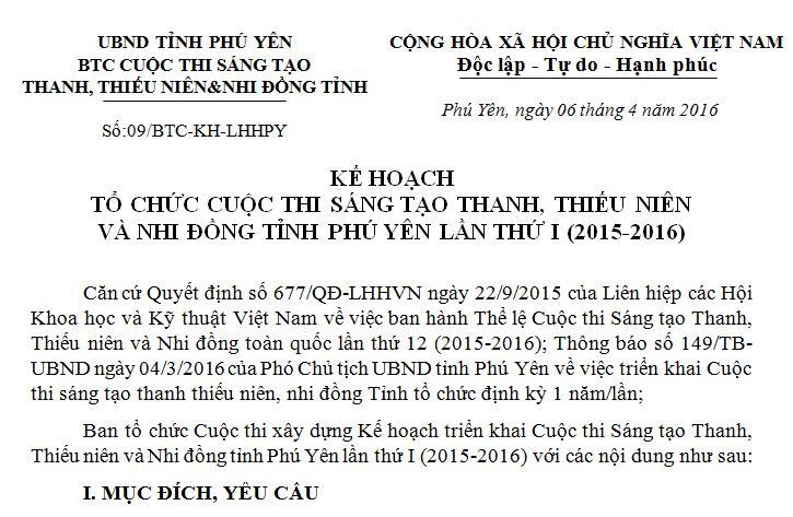 Kế hoạch tổ chức Cuộc thi Sáng tạo Thanh, Thiếu niên và Nhi đồng tỉnh Phú Yên lần thứ I (2015-2016)