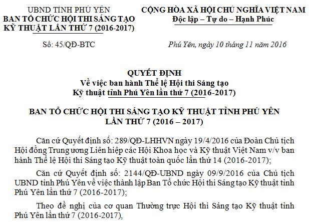 Quyết định về việc ban hành Thể lệ Hội thi Sáng tạo Kỹ thuật tỉnh Phú Yên lần thứ 7 (2016-2017)