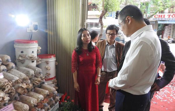 Bà Đặng Thị Thủy, Giám đốc Trung tâm Ứng dụng và chuyển giao công nghệ giới thiệu một số mô hình sản xuất thành công tại trung tâm - Ảnh: THÁI HÀ