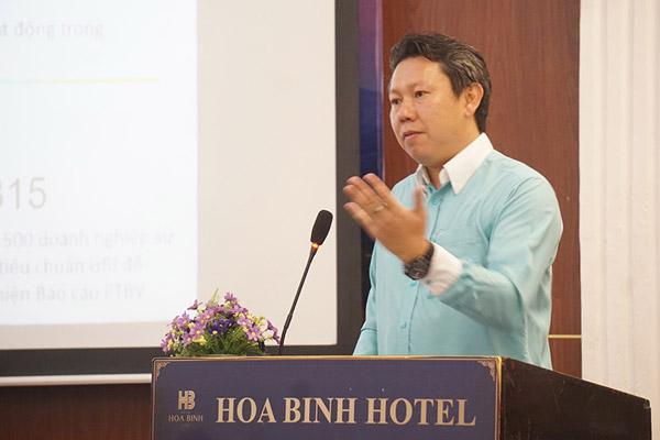 Ông Nguyễn Công Minh Bảo, Giám đốc GRI Vietnam phát biểu tại Hội thảo
