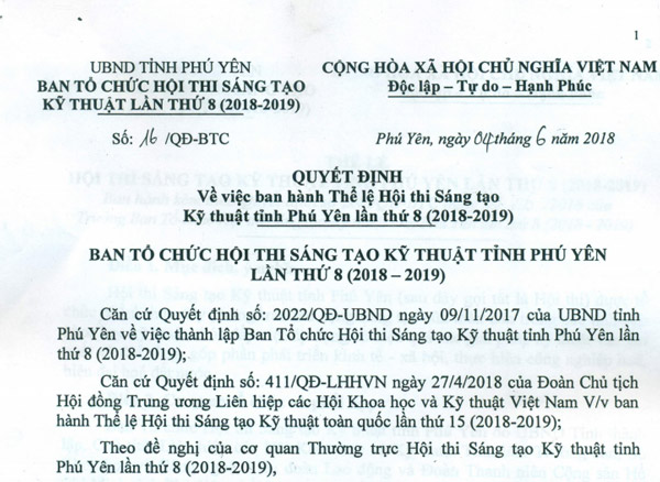 Quyết định ban hành thể lệ Hội thi Sáng tạo kỹ thuật tỉnh Phú Yên lần 8 (2018-2019)