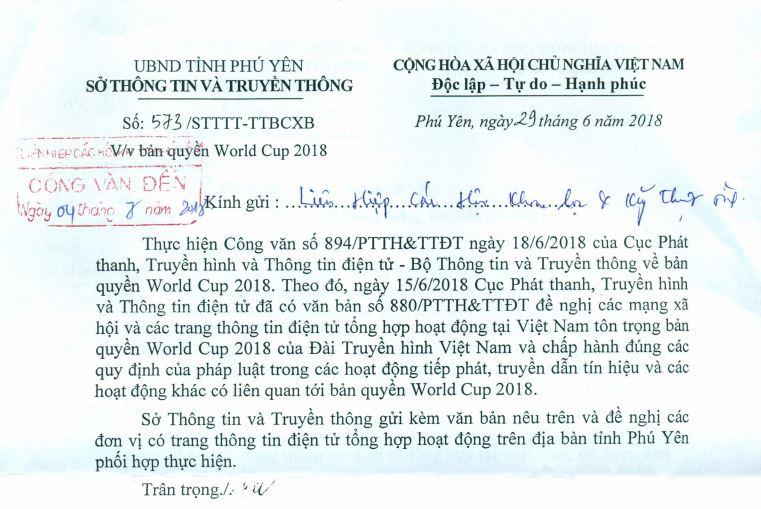 Công văn số: 573/STTTT-TTBCXB v/v bản quyền World Cup 2018