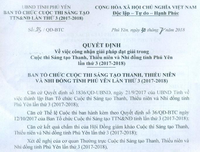 Quyết định công nhận giải pháp đạt giải Cuộc thi Sáng tạo TTN&NĐ tỉnh Phú Yên lần 3 (2017-2018)