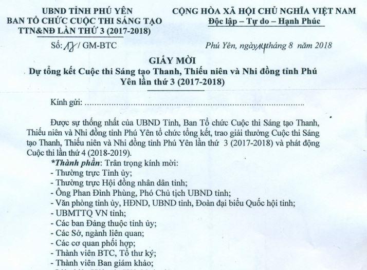 Giấy mời dự Lễ Tổng kết Cuộc thi Sáng tạo TTN&NĐ tỉnh Phú Yên lần 3 (2017-2018)