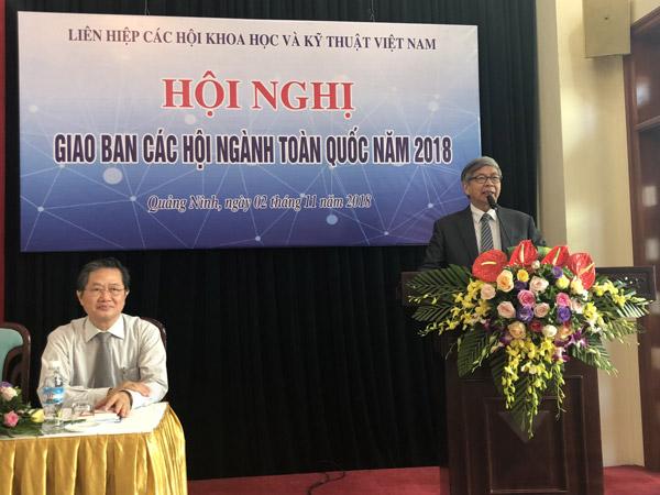 GS.TSKH Đặng Vũ Minh – Bí thư Đảng đoàn, Chủ tịch Liên hiệp Hội Việt Nam phát biểu khai mạc
