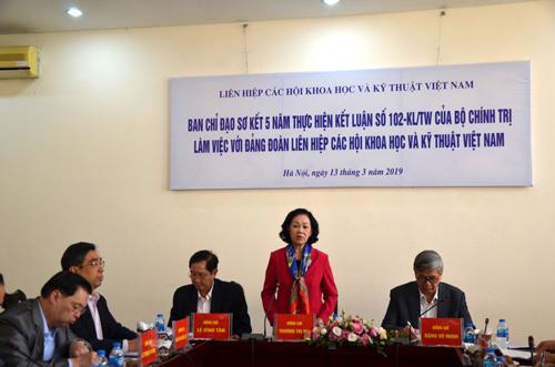 Đồng chí Trương Thị Mai làm việc với Đảng đoàn Liên hiệp các Hội Khoa học và Kỹ thuật Việt Nam