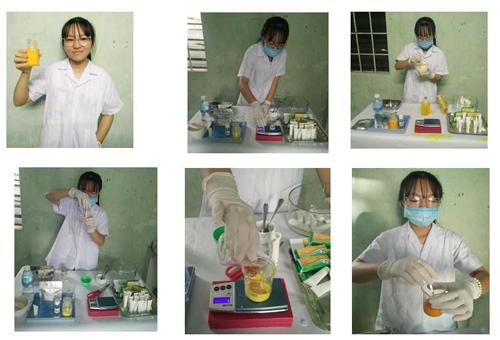 Em Thái Hương Nhi bào chế Gel điều trị bỏng từ nghệ ,nhà đam và tinh dầu dừa