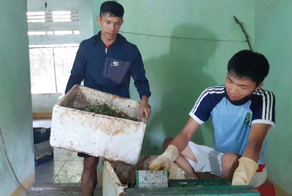 Phan Xuân Danh và Võ Ngọc Huy thực hiện công đoạn xay rác hữu cơ - Ảnh: KHANG ANH