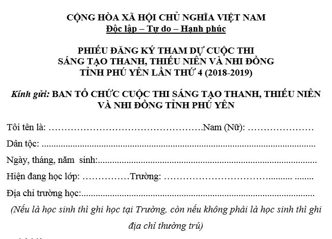 Mẫu đăng ký tham dự Cuộc thi Sáng tạo TTN&NĐ tỉnh Phú Yên lần 4 (2018-2019)
