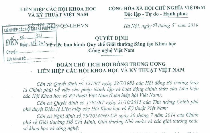 Quyết định về việc ban hành quy chế Giải thưởng Sáng tạo Khoa học Công nghệ Việt Nam