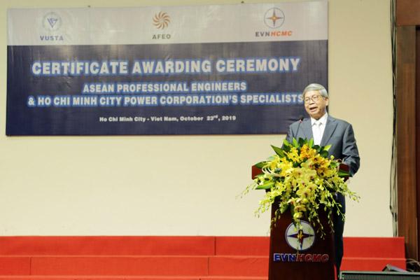 Giáo sư, Tiến sỹ khoa học Đặng Vũ Minh, Chủ tịch VUSTA phát biểu tại buổi lễ