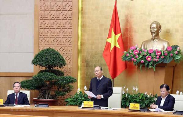 Thủ tướng Nguyễn Xuân Phúc phát biểu khai mạc tại điểm cầu Hà Nội. Ảnh: TTXVN