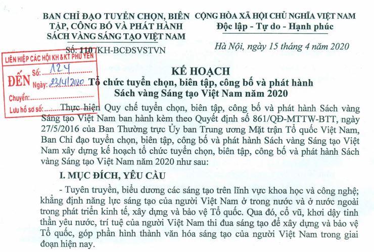 Kế hoạch Tổ chức tuyển chọn, biên tập, công bố và phát hành Sách vàng Sáng tạo Việt Nam năm 2020