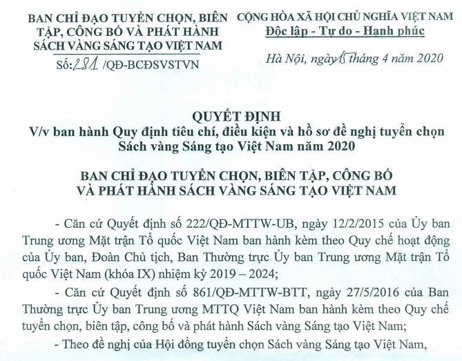 Quyết định về việc ban hành Quy định tiêu chí, điều kiện và hồ sơ đề nghị tuyển chọn Sách vàng Sáng tạo Việt Nam 2020