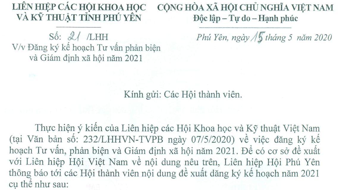 Công văn về việc đăng ký kế hoạch Tư vấn phản biện và Giám định xã hội năm 2021