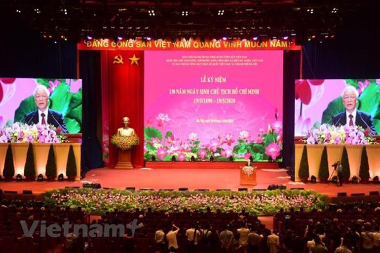 Tổng Bí thư, Chủ tịch nước Nguyễn Phú Trọng đọc diễn văn tại lễ kỷ niệm - Ảnh: Vietnam+