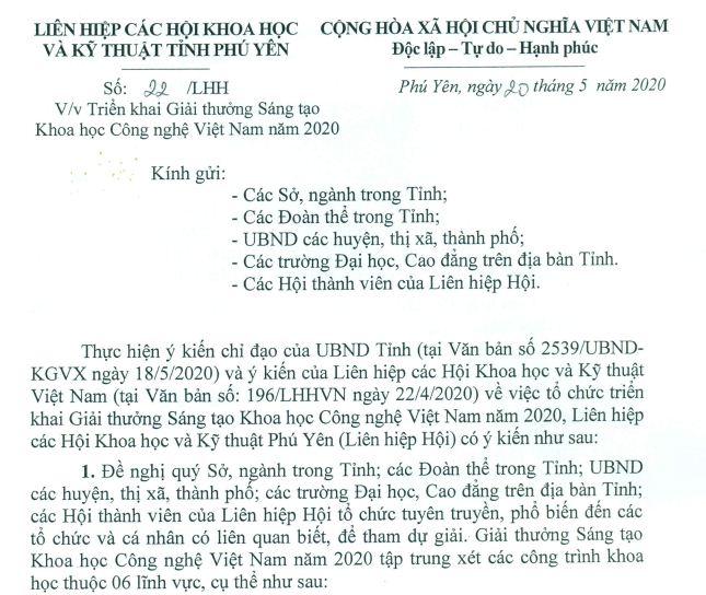 Công văn về việc Triển khai Giải thưởng Sáng tạo Khoa học Công nghệ Việt Nam năm 2020
