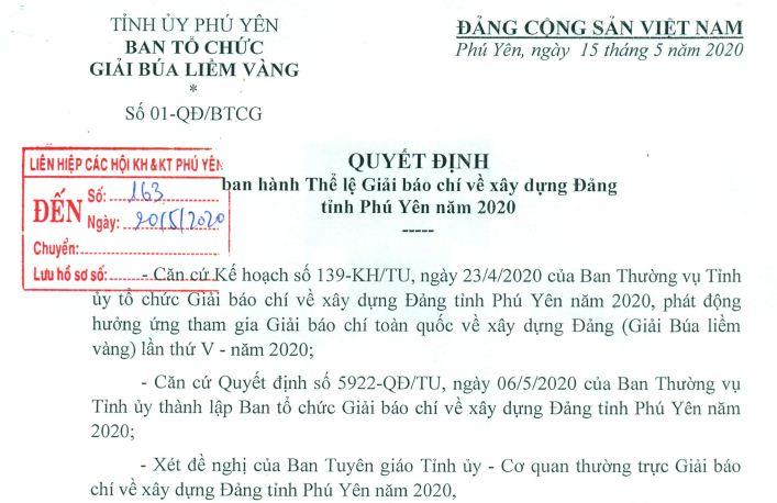 Quyết định ban hành Thể lệ Giải báo chí về xây dựng Đảng tỉnh Phú Yên năm 2020