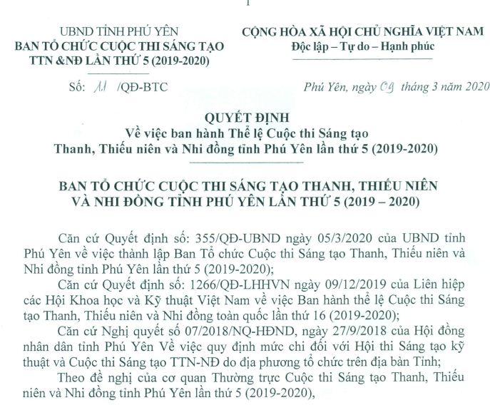 Quyết định về việc ban hành Thể lệ Cuộc thi Sáng tạo Thanh, Thiếu niên và Nhi đồng tỉnh Phú Yên lần thứ 5(2019-2020)