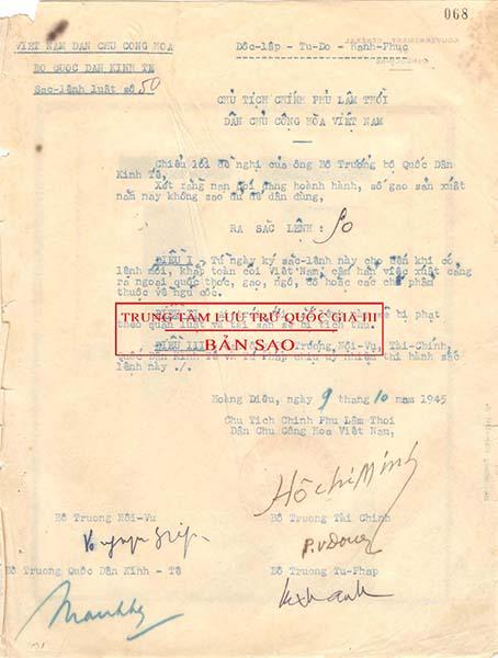 Sắc lệnh Luật số 50 ngày 9/10/1945, văn bản luật đầu tiên có ghi tiêu ngữ: