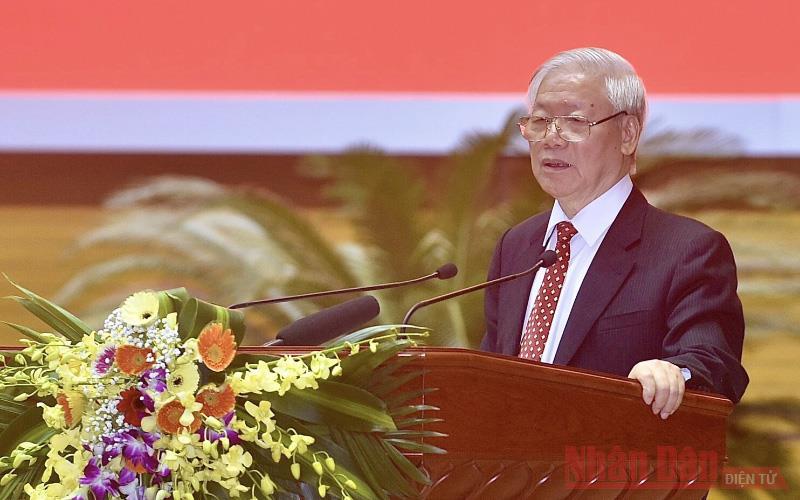 Tổng Bí thư, Chủ tịch nước Nguyễn Phú Trọng phát biểu tại Hội nghị cán bộ toàn quốc tổng kết công tác tổ chức Đại hội đảng bộ các cấp nhiệm kỳ 2020 - 2025 (Ảnh: Duy Linh).
