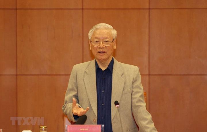 Tổng Bí thư, Chủ tịch nước Nguyễn Phú Trọng phát biểu khai mạc cuộc họp - Ảnh: TTXVN