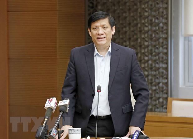 Bộ trưởng Bộ Ỵ tế Nguyễn Thanh Long phát biểu tại cuộc họp sáng 5/3. (Ảnh: Doãn Tấn/TTXVN)