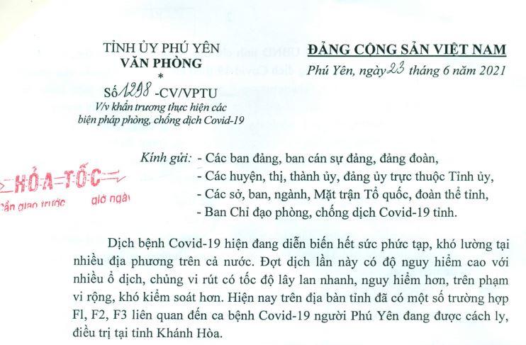 CÔNG VĂN TĂNG CƯỜNG PHÒNG, CHỐNG DỊCH COVID-19