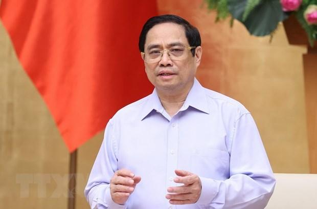 Thủ tướng Phạm Minh Chính yêu cầu lãnh đạo các tỉnh, thành phải dành ưu tiên cao nhất cho mục tiêu phòng, chống dịch; đặt sức khỏe, tính mạng của nhân dân lên trên hết. Ảnh: TTXVN