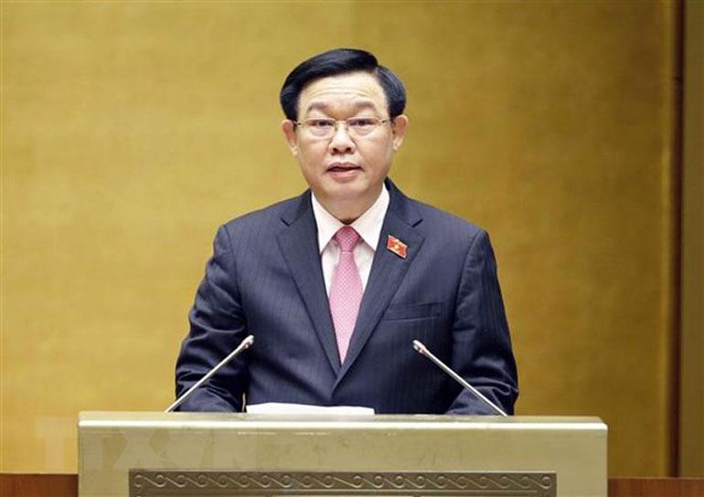 Chủ tịch Quốc hội Vương Đình Huệ phát biểu nhân Ngày Thương binh - Liệt sĩ. Ảnh: TTXVN